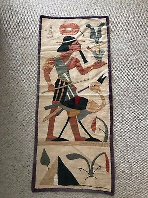 ANTIQUE EGYPTIAN 1930s TEXTILE COLLAGE APPLIQUE HAND STITCH LINEN WALL HANGING