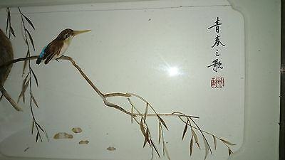 Chinese Vintage handmade, marked, 3D bird picture made with real feather