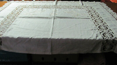 Antique Ornate Embroidered Linen & Cluny Lace Layover Pillow Sham 60Wx46L P23
