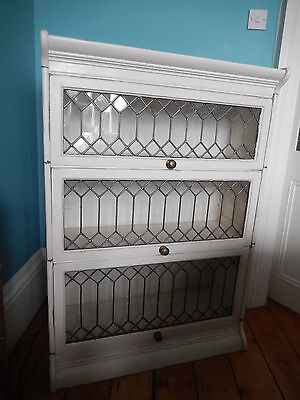 Antique Victorian 3 shelved stacking Bookcase in painted white distressed effect