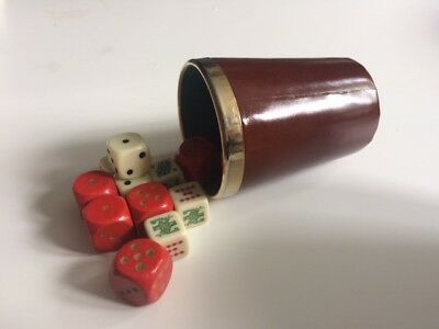 Vintage leather dice shaker and dice