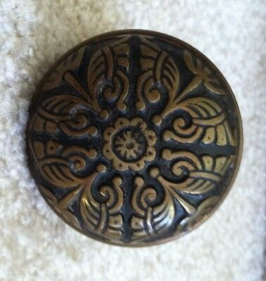 "Antique Victorian Single Solid Brass Door Knob Ornate 2 1/4"" Hardware"