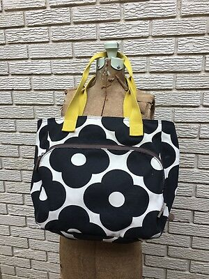 Orla Kiely for Target tote, black and white, mustard colored straps.