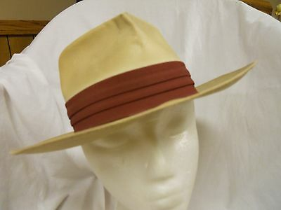 Men's vintage 50's hat panama straw with brown band size 6&1/2