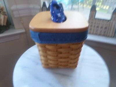 Longaberger Tissue Basket With Wood Lid And Choice Of Liners