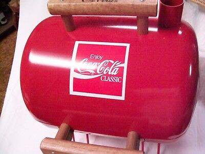 Red Coca-Cola Table Top Char-Coal Grill Made In The U.s.a. W/ Removable Grates