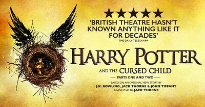 2 X Harry Potter and the Cursed Child STALLS SEATS PARTS 1 & 2 SATURDAY 30/9/17