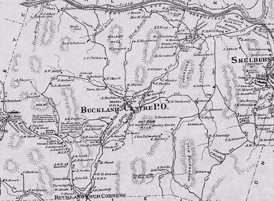 Buckland Shelburne Falls MA 1871 Map with Homeowners Names Shown