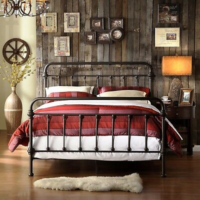 King Size Metal Bed Antique Victorian Wrought Iron Rustic Frame Dark Bronze