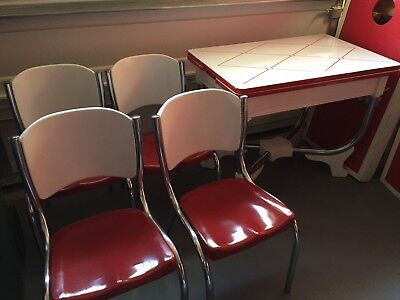 Vintage Red & White Enamel Dinette Table & Chairs