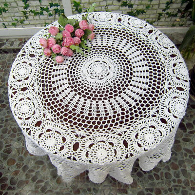 Vintage Style White or Off White Craft Handmade Crochet Lace Round Table Cloth