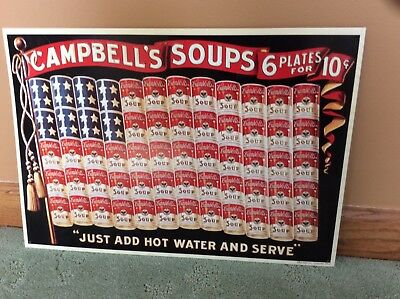 RARE Campbell Soup 125th Anniversary tin Plate sign.