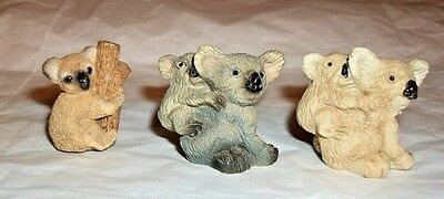 3 Miniature Stone Resin KOALA Figurines 2 w/ Babies 1 On Branch Older Collection