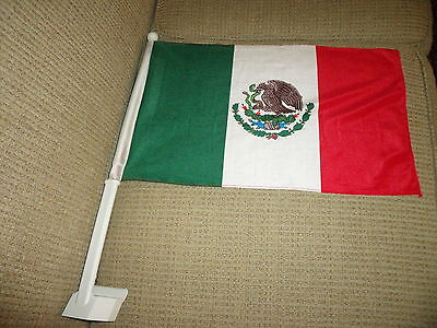 "2  Sided Mexico CAR FLAG 18""x 12"" New"