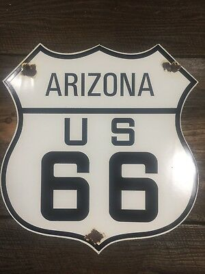 "U.s. Route 66 Arizona Az Vintage Porcelain Sign ""get Your Kicks On"""