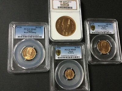 Egypt Gold Coins ,, complete set of king Farouk 1938 gold coins