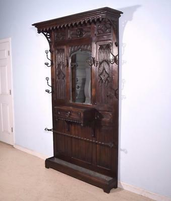 *Antique French Gothic Hall Tree/Hall Stand/Coat/Hat Rack in Solid Chestnut