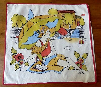 ARTS and CRAFTS PAINTED & EMBROIDERED FLAPPER BEACH  BEAUTY PILLOW COVER