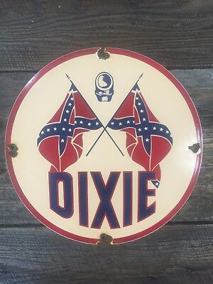 Vintage Dixie Gasoline Porcelain Sign Gas Station Pump Plate Lubester Plate