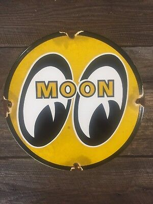 Vintage Moon Eyes Hot Rod Porcelain Automobile Gas & Oil Sign Speed Equipment