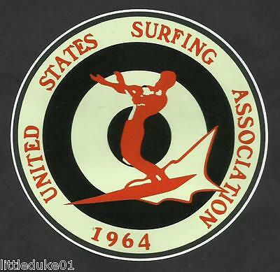 1964 UNITED STATES SURFING ASSOC. Surfboard Sticker Decal LONGBOARD Surfing !!!