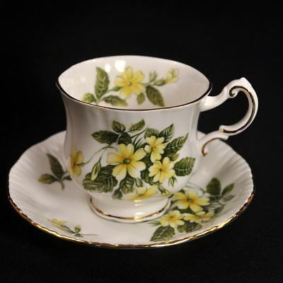 Paragon Footed Cup & Saucer 1938-1948 Flower Festival D Yellow Scalloped Gold