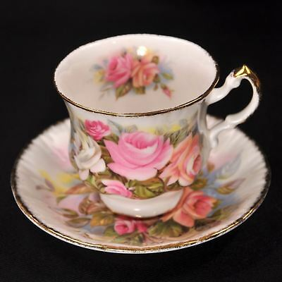 Paragon Footed Cup & Saucer Set 1952-1960 Marlborough Pink & White Roses w/Gold