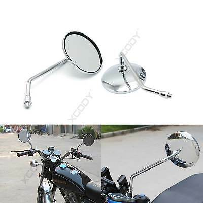 Pair Motorcycle Rear View Rearview Side Round Mirrors Universal 10mm Street Bike