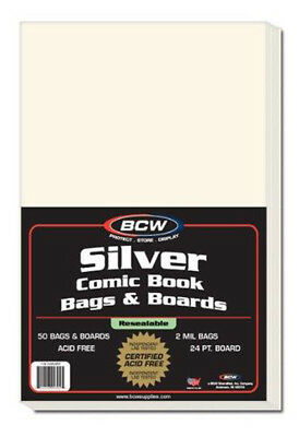 BCW Resealable Silver Comic Bags & Boards (50 ct.)