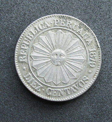Peru 10 Centavos 1879, Provisional issue. VF. Sunface