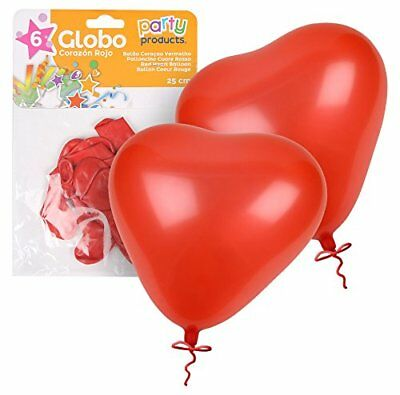 Party–Pack 6palloncini, Cuore Rosso, 25cm, 68412) (j2C)