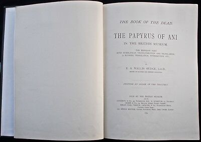 1895 Ancient Egypt The Egyptian Book Of The Dead The Papyrus Of Ani Wallis Budge