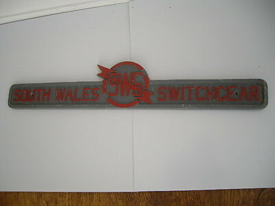 Large Original Industrial Advertising Cast Metal Sign South Wales Switchgear