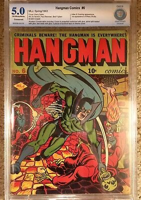 Hangman Comics #6 (Spring 1943). Scarce! Iconic cover. CBCS 5.0 Conserved.