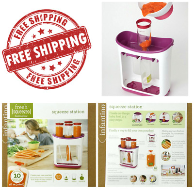 Squeeze Station Infantino Baby Food Fresh Safe Pouches Feeding Press Maker New