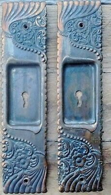 Antique Victorian Matching Pocket Sliding Door Plates - Bronze Brass