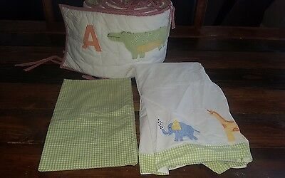 POTTERY BARN KIDS Alphabet Soup Crib Bumper, skirt, pillowcase Applique Gingham