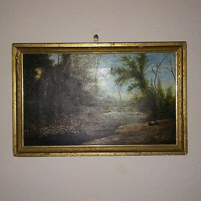 Original American Antique Landscape Oil Painting Framed Size 11x9 in.