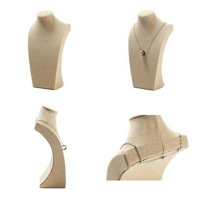 New Linen Wood Necklace Bust Jewelry Display Stand Bracelet Chain Holder Pendant