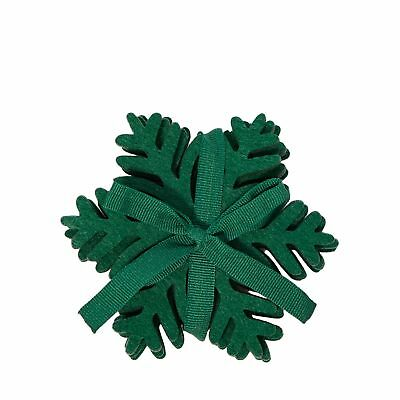 Home Collection Pack Of 4 Dark Green Laser Cut Snowflake Coasters From Debenhams