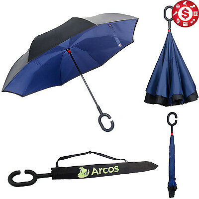 Upside Down Inverted Umbrella w/ C Handle Windproof Double Layer Reverse Opening