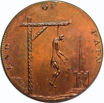 Middlesex Conder Token - End of Pain - D&H-1105 1/4 Pence - MS65 Red Brown