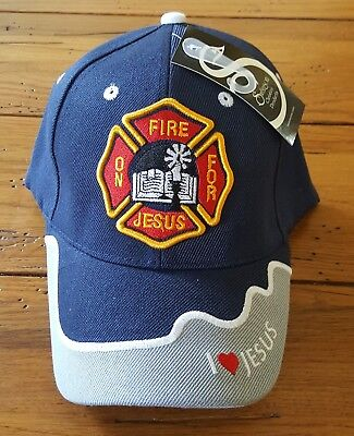 Embroidered Fire for Jesus Fire Department Dept Blue Christian Baseball Cap Hat