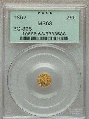 1867 Bg-825 Liberty Round 1/4 Dollar Pcgs Ms-63 Ogh