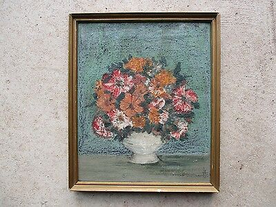 Antique Signed Primitive Oil on Canvas Still Life Flowers Painting