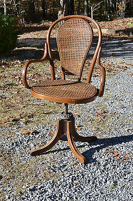 Vintage Bentwood Cane Swivel Desk Chair Drafting Stool Office