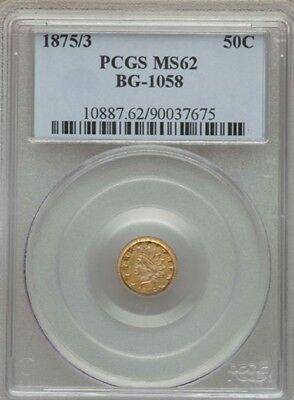 1875/3 Bg-1058 Indian Round 1/2 Dollar Pcgs Ms-62