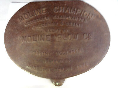 Rare Vintage 1885 Moline Champion Moline Plow Co Cast Iron Corn Planter Cover