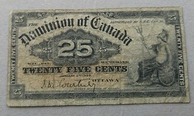 1900 Dominion of Canada 25 cent Bank Note Shinplaster Fractional Courtney 5