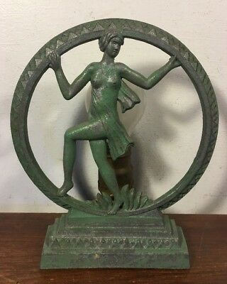 Antique Art Deco Lamp Nude Women Silhouette Figural Sculpture Metal